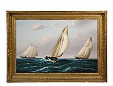CLIFTON A. HACKER (MA, 1874-1957); America's Cup Race, late 1890s, oil on canvas, signed lower right