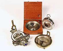 (4) MARINE INSTRUMENTS - All Pocket Sized, including: Chinese Astrolabe in brass with enameled porcelain register, glass cabochon mount