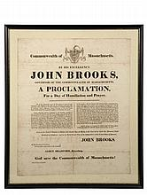 RARE BROADSIDE - March 1818 Proclamation of Thanksgiving by John Brooks, Governor of Massachusetts. In black stick frame, laid to board