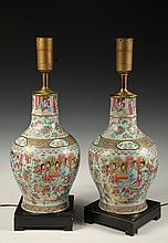 PAIR OF LARGE ROSE MEDALLION LAMPS - 19th c. Chinese Vases converted to electric lamps, having domestic scenes in panels, symbols of fo