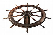 LARGE SHIP'S WHEEL - 19th c. Sailing Ship Helm Wheel, in walnut, ten-handled, retaining the original cable spool, 66