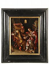 MAERTEN VOS, aka MARTIN DE VOS, (Netherlands, 1532-1603); Christ with the Temple Priest, oil on oak panel, signed verso
