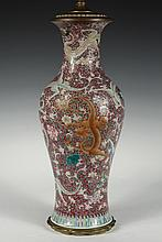 CHINESE PORCELAIN VASE AS LAMP - 19th c. Famille Rose Baluster Vase decorated with multiple polychrome writhing dragons, on a rose base