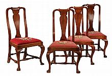 SET OF (4) QUEEN ANNE DINING CHAIRS - Period American Walnut Chairs with yoke back and urn shaped splats, nicely formed cabriole legs h