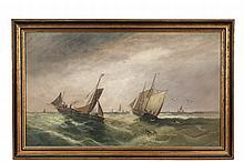 WILLIAM MATTHEW HALE (UK, 1849-1929); Competing Trawlers in a Green Sea, oil on board, signed lower right