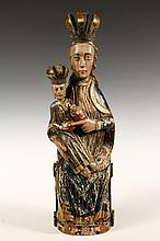 MADONNA AND CHILD FIGURE - French Polychrome Wood Statue of Madonna and Christ Enthroned