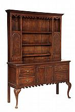 WELSH DRESSER - Queen Anne style, two-part open top Welch Dresser circa 1900, the upper portion having a molded cornice, shaped valance