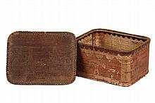 EARLY NATIVE AMERICAN BOX - Birch Bark Box in the style of Tomah Joseph (1837-1914), circa 1900, with scratch decoration of two men pad