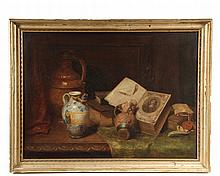 ENGLISH STILL LIFE - Tabletop Composition of Books, Pottery and a Document with Wax Seal, oil on canvas, initaled lower right