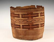 NATIVE AMERICAN BASKET - Tlingit Storage Basket in spruce root and dyed grass, North-West, late 19th c