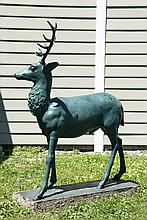 GARDEN STATUARY, ASTOR GARDENS - Half Scale Cast Iron Stag, unsigned, in green paint, on integral plinth, from the gardens of Brooke As