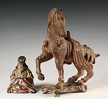 (2) CHINESE WOOD CARVINGS - 19th c. Painted and Gilt Wood Carvings of a Han style Horse and a Seated Mandarin, 11