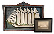 SHIP DIORAMA & ORIGINAL PHOTOGRAPH - Six Mast Schooner ' W.L. Douglas': Painted Wood Diorama in original folk art framed shadowbox, a