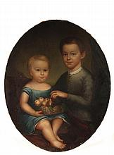 AMERICAN PRIMITIVE PAINTING - Portrait of Boy and Younger Sister, holding a basket of pears, oil on canvas, unsigned, oval format, unfr