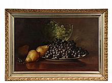 FREDERICK STONE BATCHELLER (RI, 1837-1889); Still Life with Grapes and Pear, Glass Bowl, signed lower left