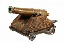 SIGNAL CANNON - 19th c. Bronze Miniature Naval Deck Cannon, in the form of a 14 pounder, practical. On a 20th c. home-built carriage wi