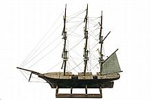 MARINE WEATHERVANE - Folk Art 19th c. Three Mast Ship in painted wood, rigged with cotton wire but having only the Barkentine sail (in