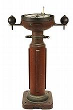 LANDMARK HISTORICAL SHIP'S BINNACLE - Heath's Patent 'Hezzanith' Dry Compass on brass and mahogany binnacle, circa 1895, incorporat
