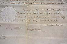 LINCOLN & JOHNSON SIGNED NAVAL APPOINTMENTS, W (5) SUPPORTING LETTERS, PIVOTAL OFFICER - July 17th, 1862 Appointment of Joseph Smith as
