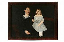 OIL ON BED TICKING - Double Portrait of Mary Dakin Shaw & Daughter Hannah Miller Shaw, ca 1830, unsigned, SS: 35