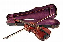 GERMAN VIOLIN IN CASE W/ (2) BOWS - Early GA Pfretzschner Markneukirchen Copy of a Stradivarius Violin, circa 1910, in period hard case