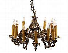 BRONZE CHANDELIER - Mid 20th c. French Style Cast Bronze Electric Chandelier with faux candles, fancy chain and ceiling plate, twelve s