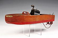 TOY BOAT - 1926 'Flying Yankee' Model 65 Motorboat by Seaworthy Boats, in stained and painted pine, with wind-up motor, Jacrim Mfg Co