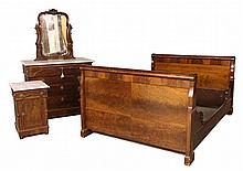(3 PC) VICTORIAN MARBLE TOP BEDROOM SET - Dresser, Half Commode and Sleigh Bed in figured walnut with applied scrollwork, 3/4 corner co