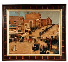 AUGUSTE LOUIS GENSOLLEN, POSS. - Australian Street Scene with Carriages, oil on canvas, signed