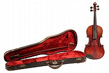 VIOLIN & BOW - German 4/4 Violin, Cremona pattern, 14
