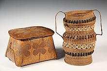 (2) NATIVE-AMERICAN BASKETS - 1920s Vintage Mic-Mac Sweetgrass and Nut Tall Basket with handles, banded tiers, 12' tall, 8