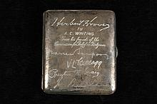 CIGARETTE CASE - World War I Era .800 Silver Presentation Cigarette Case, presented to A.C. Whiting by President Herbert Hoover and Fri