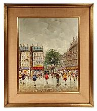 VIDAL, (20th c. French); Parisian Street Scene After Rain, signed lr, in gold molded frame with linen mat. OS: 27