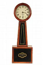 BANJO CLOCK - Howard & Davis of Boston Clock with solid cherry case, tapered throat with eglomise panel, pendulum case with matching de