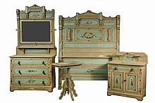 (4 PC) COTTAGE BEDROOM SET - Painted Pine Set in moss and mint green with floral detailing, consisting of double bed, dresser with mirr