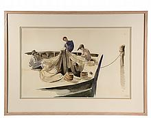 DORIS RIKER BEER (MA, 1898-1967); Nantucket Net Menders, watercolor on paper, signed lower right
