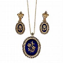 JEWELRY SUITE - (2) Piece 18K Yellow Gold, Enamel, and Diamond Jewelry Suite, including a brooch/pendant and pair of clip earrings. Pen