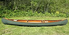 OLD TOWN CANOE - 16' Guide's Special, fiberglass over wood frame, made in Old Town, Maine, serial number 197105 (made ca 1968-74), wi