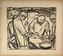 BROR JULIUS OLSSON NORDFELDT (NM/NJ/KS, 1878-1955); 'A Record of My Operation', seven charcoal drawings on paper, tipped to board by