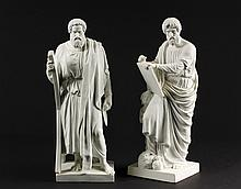 PAIR OF ROYAL COPENHAGEN PARIAN FIGURES - Portraits of Saints Peter & Paul, the Pillars of the Church, with their attributes, circa 189