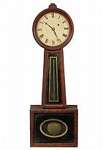 BANJO CLOCK - Mahogany Case, with painted tin face and eglomise panels, first half 19th c., unmarked. 29 1/2