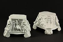PAIR OF MEISSEN PARIAN PLINTHS - 19th c, oblong, having decoration themed in the Arts, fronted by Roman Comedy and Tragedy masks, set o