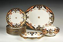(14 PCS) ROYAL CROWN DERBY - In classic cobalt blue and orange with gilt detailing, with