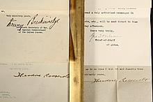 (4) AUTOGRAPH LETTERS - Including: (2) Theodore Roosevelt; March 20, 1903 to Eliot Tuckerman of NYC, on White House stationary, declini