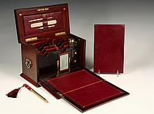 ENGLISH LADY'S WRITING BOX - Outstanding Mahogany and Marquetry Inlaid Portable Desk, having a hinged top with pen, pencil and letter