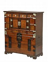 KOREAN CABINET - 19th c. Finely Crafted paneled and dovetailed case, in contrasting exotic woods with silvered metal fittings above and