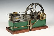 BOXED STEAM ENGINE MODEL - An extremely well-machined exhibition quality Corliss steam engine model, mid-20th c, with a single horizont