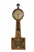 EARLY BANJO CLOCK - 19th c. Mahogany Cased Clock with eglomise panels, gilt eagle finial, weight driven brass time-only movement, unmar