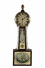 BANJO CLOCK - Early 19th c. Mahogany Cased Banjo Clock with eglomise panels depicting the War of 1812 Battle of Lake Erie, Perry's vic