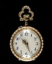 LADY'S PENDANT WATCH - 18K Yellow Gold Pendant Watch by Golay Fils & Stahl, Geneve, No. 28904 & No. 29570, case set with blue sapphire